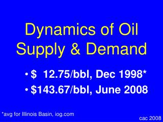 Dynamics of Oil Supply & Demand