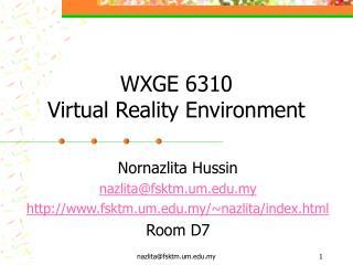 WXGE 6310 Virtual Reality Environment