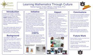 Learning Mathematics Through Culture  Ravikant Agarwal, Andrea Williams, Cheryl Seals, Ph.D.