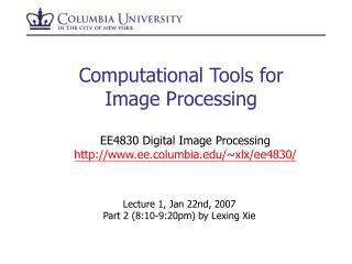 Computational Tools for Image Processing
