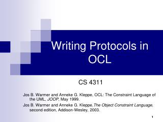 Writing Protocols in OCL