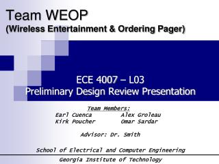 Team WEOP (Wireless Entertainment & Ordering Pager)