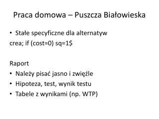 Praca domowa – Puszcza Białowieska