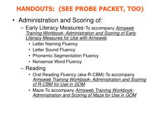 Administration and Scoring of: