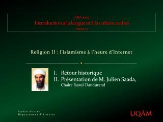 ARA 1002 Introduction à la langue et à la culture arabes - cours 13 -