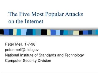 The Five Most Popular Attacks on the Internet