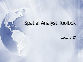 Spatial Analyst Toolbox