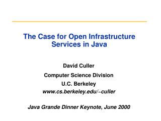 The Case for Open Infrastructure Services in Java