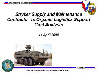 Stryker Supply and Maintenance  Contractor vs Organic Logistics Support Cost Analysis