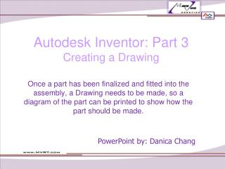 Autodesk Inventor: Part 3 Creating a Drawing