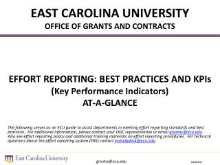 EAST CAROLINA UNIVERSITY OFFICE OF GRANTS AND CONTRACTS