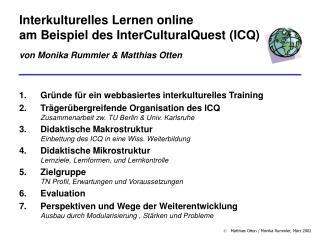 Gr�nde f�r ein webbasiertes interkulturelles Training