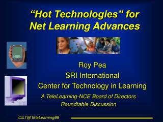 �Hot Technologies� for  Net Learning Advances