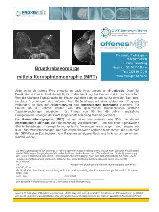 Praxisnetz Radiologie + Nuklearmedizin Bonn Rhein-Sieg Haydnstr. 36, 53115 Bonn Tel.: 0228 98170-0