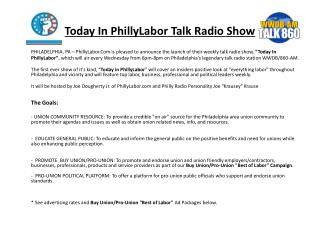 Today In PhillyLabor Talk Radio Show