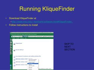 Running KliqueFinder