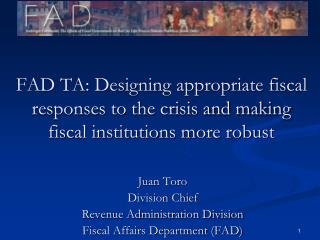 Juan Toro Division Chief Revenue Administration Division Fiscal Affairs Department (FAD)