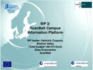 WP 3:  ScanBalt Campus  Information Platform WP leader: Heinrich Cuypers,  BioCon Valley