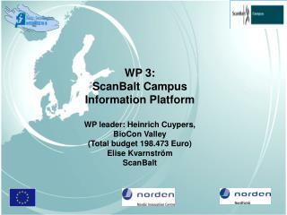 WP 3:  ScanBalt Campus  Information Platform WP leader: Heinrich Cuypers,  BioCon Valley