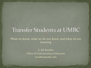 Transfer Students at UMBC