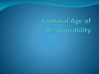 Criminal Age of Responsibility