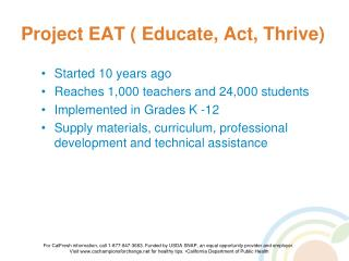 Project EAT ( Educate, Act, Thrive)