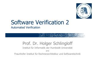 Software Verification 2 Automated Verification