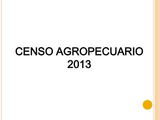 CENSO AGROPECUARIO  2013