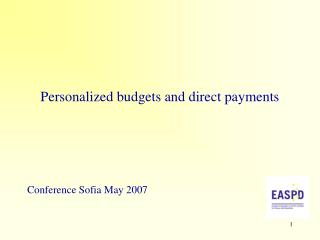 Personalized budgets and direct payments