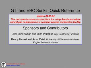 GTI and ERC Senkin Quick Reference