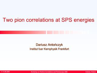 Two pion correlations at SPS energies