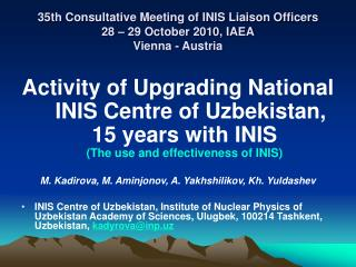 35th Consultative Meeting of INIS Liaison Officers 28 – 29 October 2010, IAEA Vienna - Austria