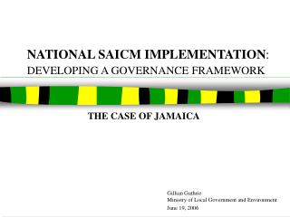 NATIONAL SAICM IMPLEMENTATION :  DEVELOPING A GOVERNANCE FRAMEWORK