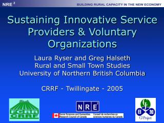 Sustaining Innovative Service Providers & Voluntary Organizations