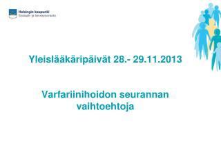 Yleislääkäripäivät 28.- 29.11.2013 Varfariinihoidon seurannan vaihtoehtoja