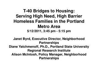Bridges to Housing Alleviating Family Homelessness in the