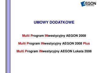 UMOWY DODATKOWE Multi P rogram  IN westycyjny AEGON 2008