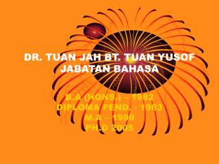 DR. TUAN JAH BT. TUAN YUSOF JABATAN BAHASA