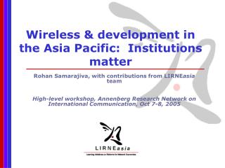 Wireless & development in the Asia Pacific:  Institutions matter