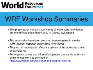 WRF Workshop Summaries