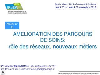AMELIORATION DES PARCOURS  DE SOINS:  rôle des réseaux, nouveaux métiers