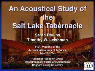 An Acoustical Study of the  Salt Lake Tabernacle