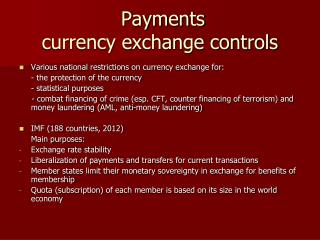 Payments currency exchange controls