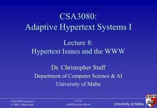 CSA3080: Adaptive Hypertext Systems I