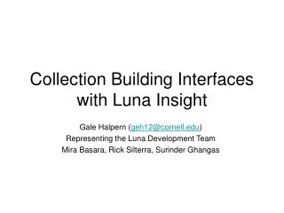 Collection Building Interfaces with Luna Insight