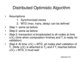 Distributed Optimistic Algorithm