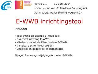 E-WWB  inrichtingstool