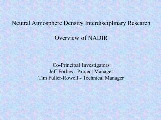 Objective of NADIR