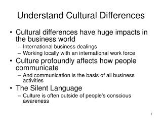 Understand Cultural Differences