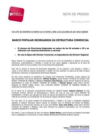 Ángel Ron reorganiza la estructura comercial del Popular